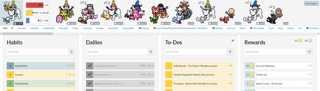 How your HabitRPG might look a few months in.